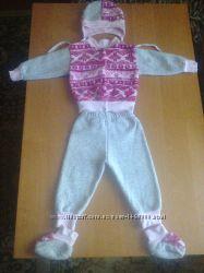 Костюмчик теплый с начесом кофта, штаны, шапка и пинетки для девочки