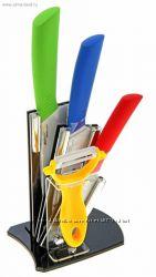 Керамические ножи на подставке 3шт. овощечистка