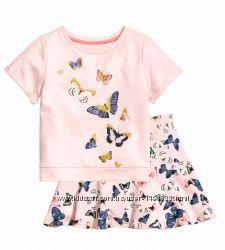 Костюм юбка и футболка с бабочками hm на 6-8 лет