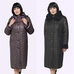 Зимнее женское пальто. Акция. Размеры 54-66 Три цвета.