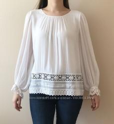 Блузка белая Zara с ажурной вышивкой