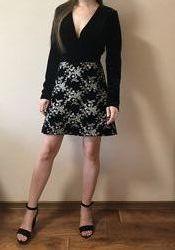 Платье коктейльное черное бархатное с вышивкой Marsees