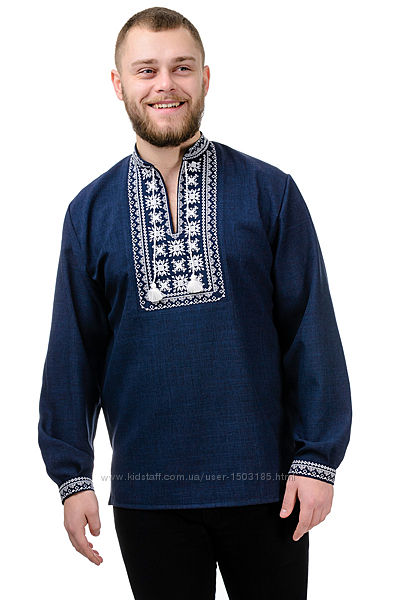 Мужская вышиванка, габардин, 3 цвета, размеры 44, 46, 48, 50, 52, 54