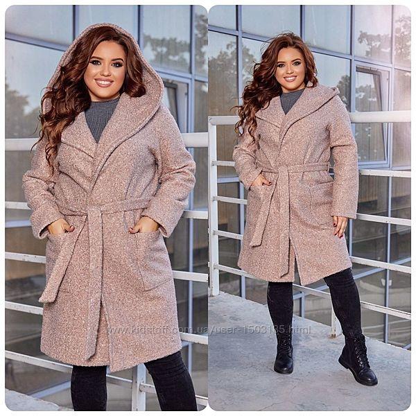 Кардиган-пальто, теплое букле с начесом, 3 цвета, р-ры 44-50