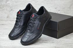 мужские кожаные кроссовки Columbi. Adidas. Ecco чёрные прошитые кожа