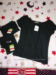 44 46 Модный карэ вырез. Черная котоновая немецкая футболка c&a