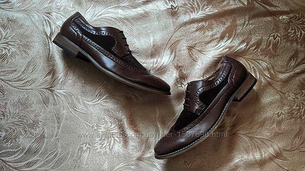 Мужские кожаные коричневые туфли броги оксфорды GOOR MS6041. 42 размер