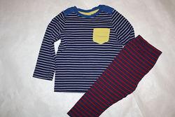 Шикарная котоновая пижама Mothercare в полоску 1-1,5года