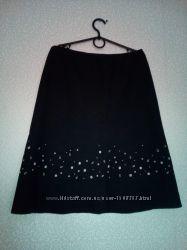 Лён, юбка с вышивкой