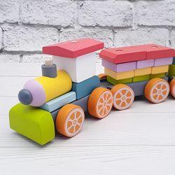 Cubika эко конструктор Деревянный поезд LP-1, 38 деталей, Украина