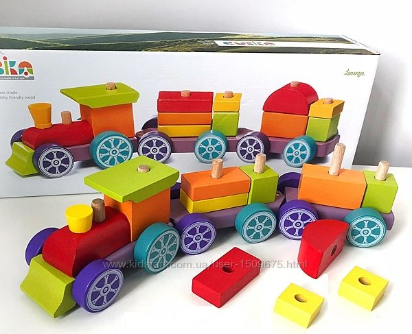 Cubika конструктор Деревянный поезд Радужный экспресс LP-3, 15 дет, 12923