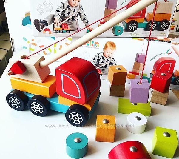 Cubika Машина Автокран Кран подъемный деревянный с магнитными кубиками