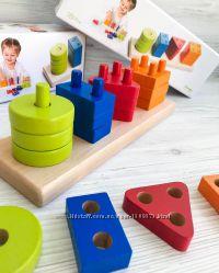 Развивающий деревянный геометрический сортер Cubika, 17 дет эко конструктор