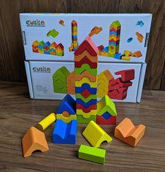 Cubika конструктор набор деревянных кубиков Цветные пирамидки LD-13, 25 дет