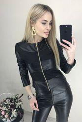 Женская легкая черная куртка кожаная Nika 42 44 46 48