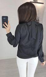 Блузка кофта в горошек с бантом на спине Эстер 42-44 46-48