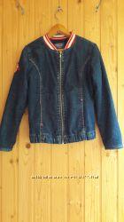 Джинсовая куртка пиджак для девочки на флисе