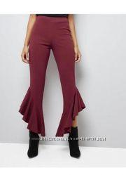 Нереальные брюки с волнами внизу леггинсы цвета марсала