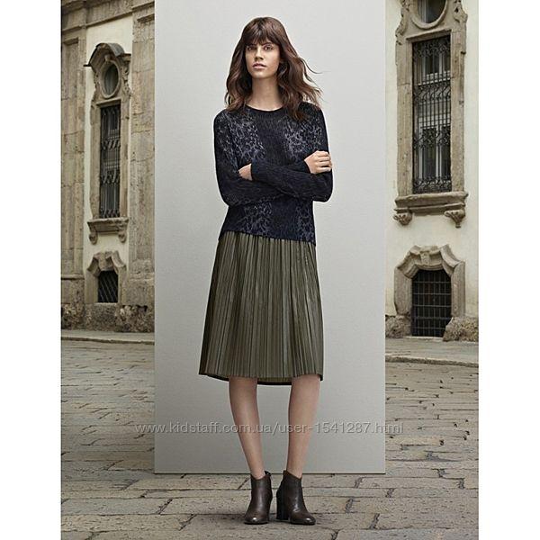 Плиссированная юбка Stefanel цвета хаки