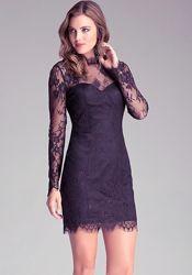 Черное гипюровое платье Bebe