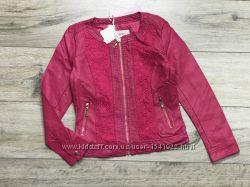 Крутая куртка пиджак 98-128, комбинированная с экокожи, польша