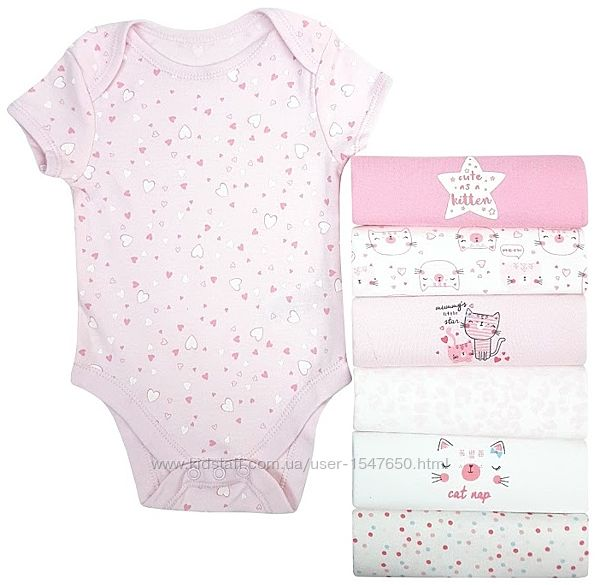 Комплект хлопковых боди на девочку 0 - 6 месяцев, Early days, Primark