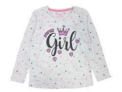 Стильный серый лонгслив, реглан в звезды с надписью на девочек, Primark