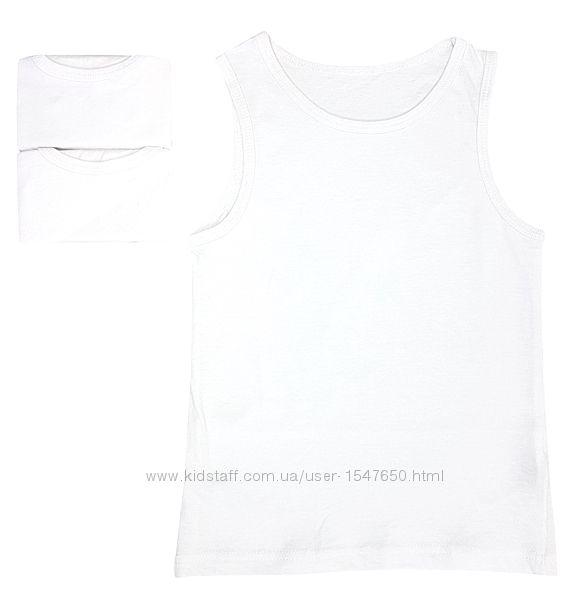 Однотонные белые майки комплектом на мальчика, Primark