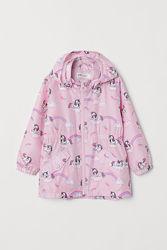 Стильная розовая ветровка с единорогами на девочек, H&M
