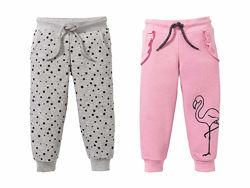 Теплые трикотажные розовые и серые штаны на девочек 1 - 2 года,  Lupilu