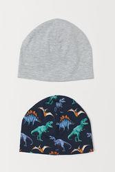 Комплект трикотажных шапок с динозаврами на мальчика 1,5-4 года, шапка H&M