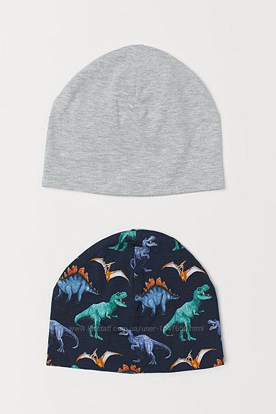 Комплект стильных трикотажных шапок с динозаврами на мальчика, шапка H&M