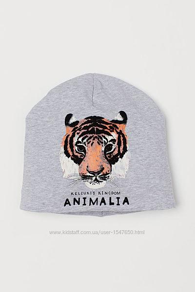 Брендовая трикотажная шапка на флисе с тигром на мальчика, H&M