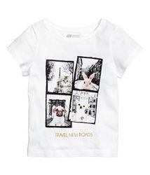 Стильная белая футболка на девочек 1,5 - 2 года, р. 92, h&m