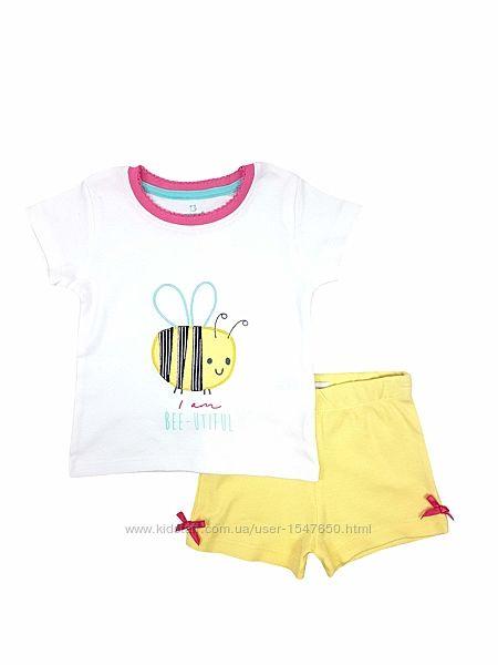 Хлопковая летняя пижама с пчелкой для девочки 1 - 1,5 года, р. 86, early da