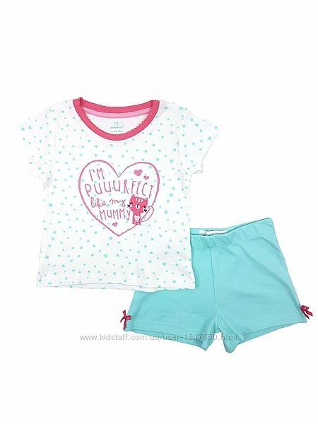 Хлопковая летняя пижама для девочки 1 - 1,5 года, р. 86, early days