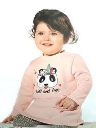Детское теплое платье - туника с пандой на девочек р. 74 - 80, lupilu