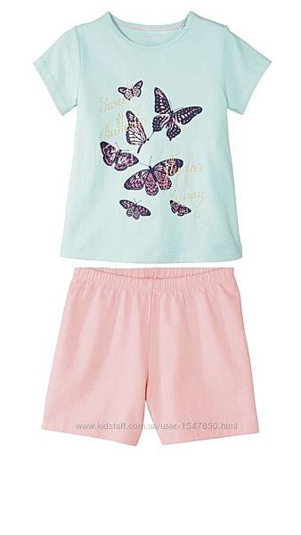 Летняя хлопковая пижама, костюм для девочки на 1 - 2 года, размер 86 - 92,