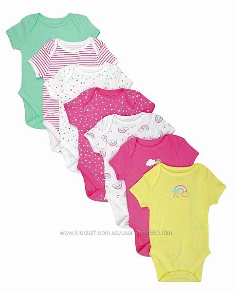 Разноцветные боди на девочек 0 - 9 месяцев, Early Days by Primark