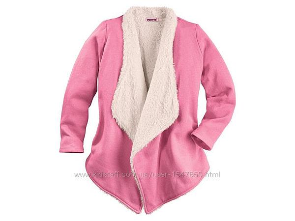 Теплый розовый кардиган с мехом для девочки р.146 - 152, pepperts