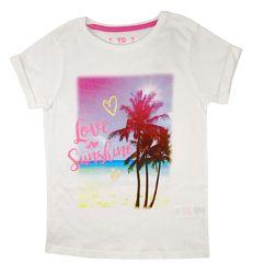 Стильная белая футболка с принтом на девочку, р. 134, 146 young dimension