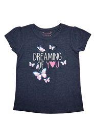 Стильная синяя футболка с надписью и бабочками для девочки, primark