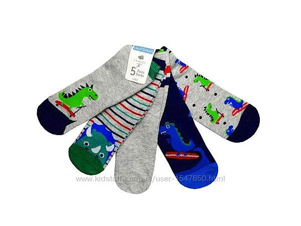 Носки с динозаврами на мальчика 6 - 12 месяцев, комплект носков primark