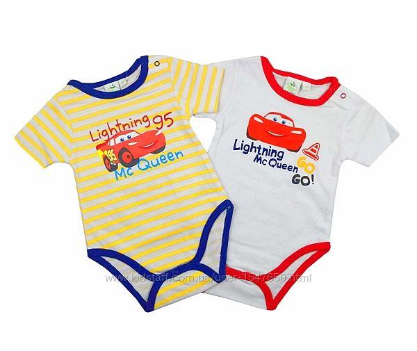 Комплект боди с короткими рукавами тачки, cars для мальчика, disney baby
