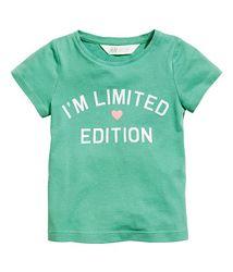 Стильная зеленая футболка с блестящей надписью на девочек р. 122-128, H&M