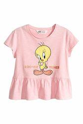 Стильная футболка с оборкой на девочек р. 134 - 140, h&m