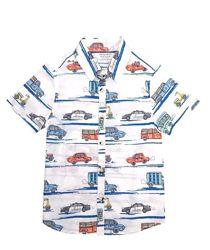 Летняя белая рубашка с короткими рукавами с машинками на мальчика, primark