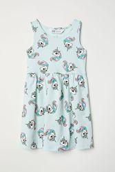 Нежное мятное платье, сарафан с единорогами на девочек, H&M