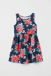Стильное темно-синее платье, сарафан с красными розами на девочек, H&M