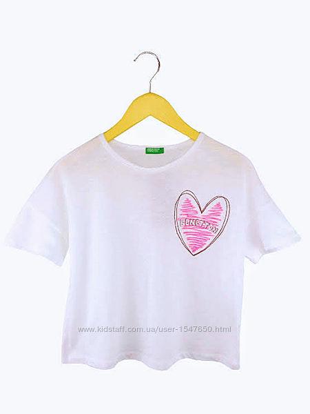 Стильная белоснежная укороченная футболка на девочек, Benetton